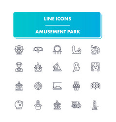 Line icons set amusement park vector