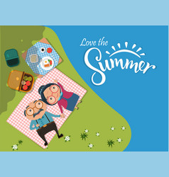 Love summer old senior man and woman couples vector