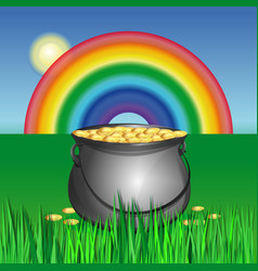Magic pot with gold coins for st patricks day vector