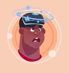 Man dizzy african american male emoji wearing 3d vector