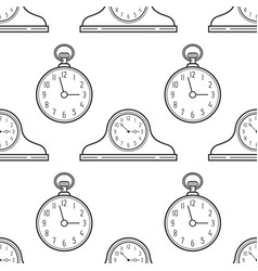 Mantel clocks and pocket watch black and white vector