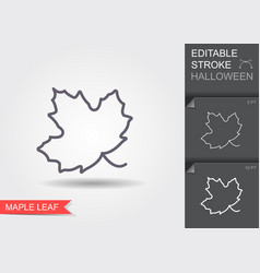 maple leaf line icon with editable stroke vector image