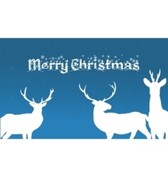 Merry christmas backgrounds deer of silhouette vector