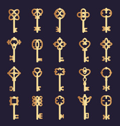 metal keys collection steel keys collection vector image