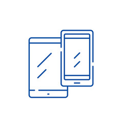 mobile devices line icon concept mobile devices vector image