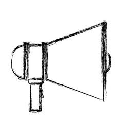 Monochrome blurred silhouette of megaphone icon vector