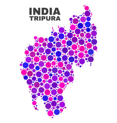 mosaic tripura state map of round items vector image
