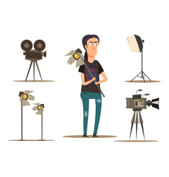 Movie making group set vector