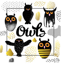 owls design in childish style kids background vector image