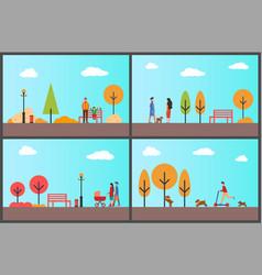 people walking in autumnal park fall season set vector image