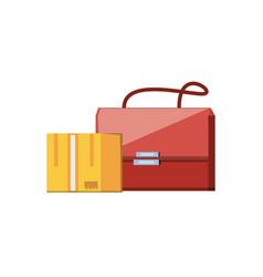 Post bag handle with box carton vector