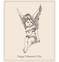 Postcard Happy Valentines Day with the girl-angel vector