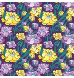 Purple and Yellow Peony Pattern vector image