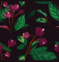purple jungle floral seamless background contrast vector image