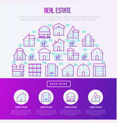 real estate concept in half circle vector image