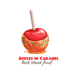 Red apples in caramel vector