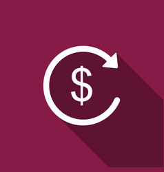Refund money icon isolated with long shadow vector