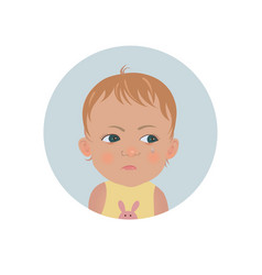 Resentful child emoticon cute offended baby emoji vector