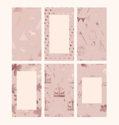 rose gold set backgrounds for social media and vector image