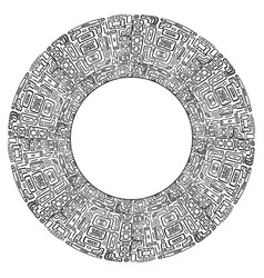 round frame with black and white tribal doodle vector image