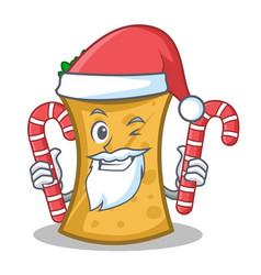 Santa with candy kebab wrap character cartoon vector