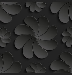 seamless pattern black 3d paper flower circle 3d vector image