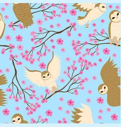 seamless pattern with barn owls and sakura vector image