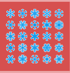 set different snowflakes isolated on white vector image