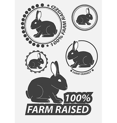 Set of silhouette the rabbit hare Hare hunting vector