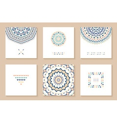 Set of six cards with ethnic design vector