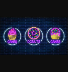 Set of three neon glowing signs of donut and vector