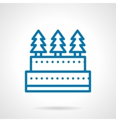 Simple line Xmas cake icon vector image