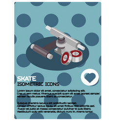 skate color isometric poster vector image
