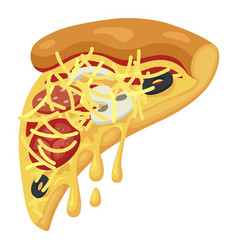 slice pizza icon fast food and delicious meat vector image