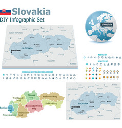 Slovakia maps with markers vector image