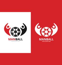 soccer and people logo combination ball vector image