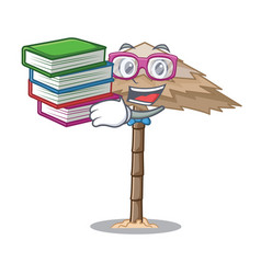 Student with book beautiful beach shelter sand vector