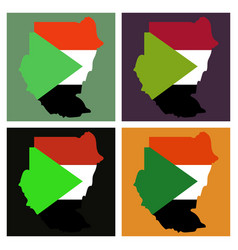 Sudan flag and map on gray background vector