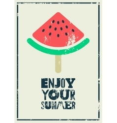 Summer time phrase typographical grunge poster vector image