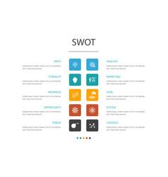 Swot infographic 10 option conceptstrength vector