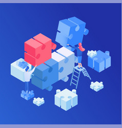 teamwork creative process isometric vector image