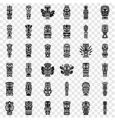 Tiki idols icon set simple style vector