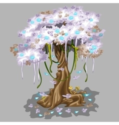 Tree with pink foliage and blue falling leaves vector