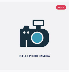 two color reflex photo camera icon from vector image