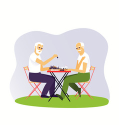 Two grown men are playing chess vector