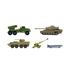 Types of modern armament flat set vector