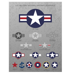us military national aircraft star roundels vector image