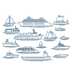 vessel linear icons vector image