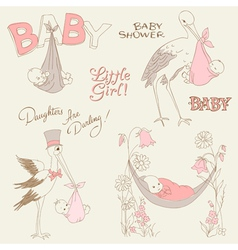 Vintage baby girl shower vector