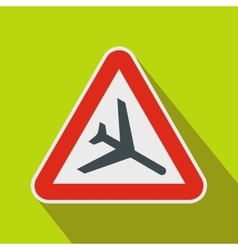 Warning sign of low flying aircraft icon vector image